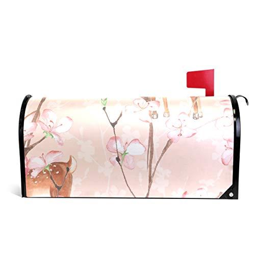 Elk Blossom - CiCily Magnetic Mailbox Cover Peach Blossom Elk Decoration for House Garden