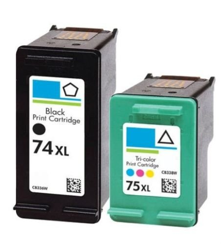 2 Pack Blk Ink - 2 Pack Blk Color ink Fits HP 74XL HP 75XL Deskjet D4260 D4263 D4268 D4280