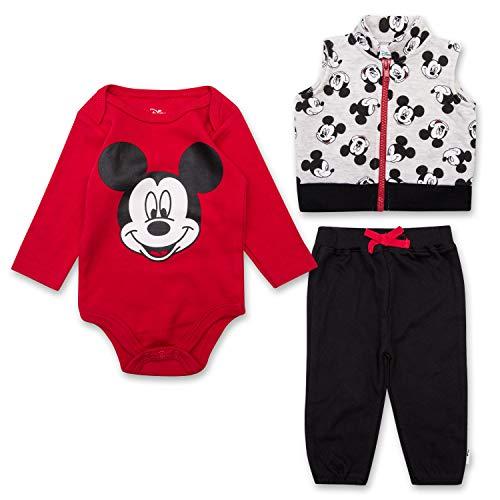 Boys Baby Newborn Sweatpants - Newborn Boys Mickey Mouse Set - Disney Mickey Mouse 3 Peice Clothing Set - Long Sleeve Onesie, Vest, and Sweatpants (Red/White/Black, 0M-3M)
