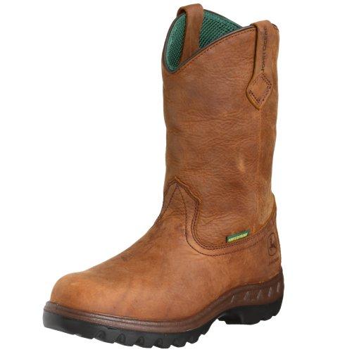 "John Deere Men's JD4504 11"" Waterproof Pull On Boot Tan Tramper Boot 10.5 EE - Wide"