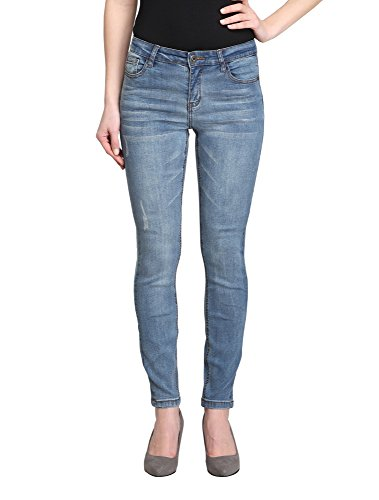 Women's Distressed Plain Blue Mid-Rise Skinny Ankle Jeans (Iris-AK) (30)
