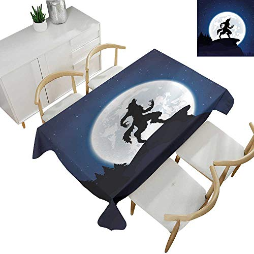 Warm Family Wolf Washable Table Cloth Full Moon Night Sky Growling Werewolf Mythical Creature in Woods Halloween 54