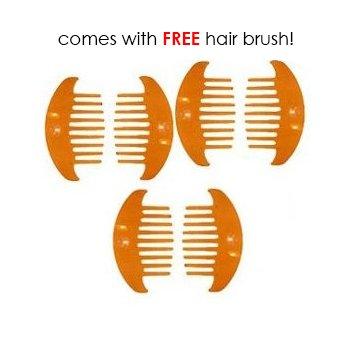3-pack Hair Raiser * Pair * Mock Tortoise * Small W/free Hair Brush