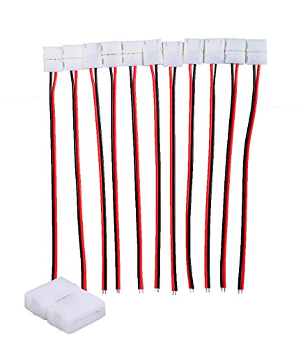 Conwork 20-Pack 2 Pin 8mm LED Strip Connector Kits for Strips Light Double-sided PCB 3528 2835 3014 Single Color Lights, with 10pcs Jumper Wire ()