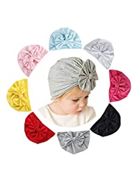 Guozyun Baby Girl Hats Knotted Turbans Headband Beanie Hat for 6-60 Months Infant Toddlers Kids
