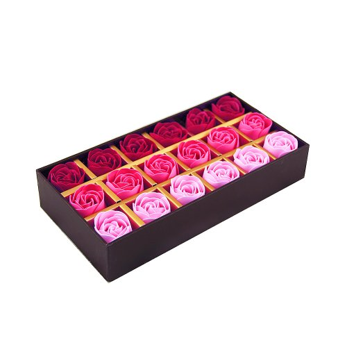 CICI&SISI 18 Pcs Hot Pink Gradient Scented Hand & Body Soap Rose Petal in Gift Box