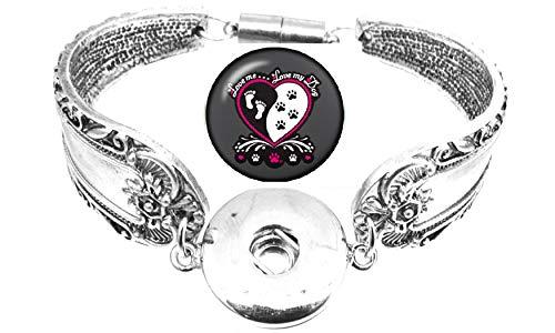 Body Accentz Snap Bracelet Antique Silver Color Magnetic Clasp Spoon Flower Carved Bracelet Fits Snap Buttons (Dog)