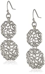 "NINE WEST VINTAGE AMERICA ""Florabella"" Worn Silver-Tone Double Drop Earrings"