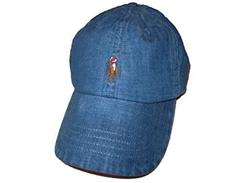 RALPH LAUREN Polo Mens Weathered Denim Baseball Cap Blue