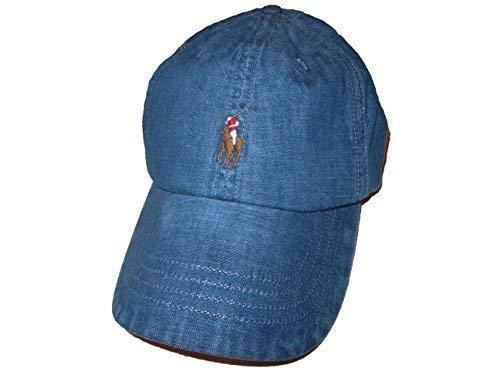Viking Blue Metal - RALPH LAUREN Polo Mens Weathered Denim Baseball Cap Blue
