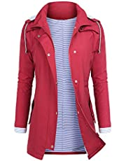 AUDIANO Rain Jackets Women Lightweight Raincoat Striped Lined Waterproof Windbreaker Active Outdoor Hooded Trench Coats