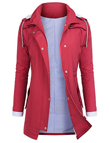 AUDIANO Rain Jackets Women Lightweight Raincoat Striped Lined Waterproof Windbreaker Active Outdoor Hooded Trench Coats Red M
