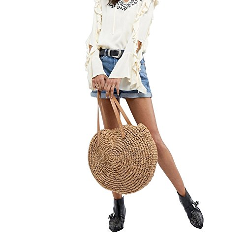 Dual Sling Beach Bag Travel Woven Camel Round Straw Crossbody purpose w0qxIn6f