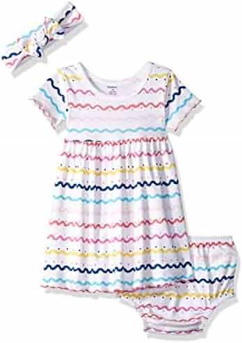4fc30ed1a Gerber Baby Girls 3-Piece Dress, Diaper Cover and Headband Set