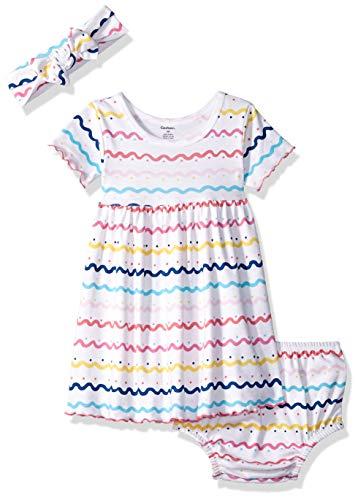 Gerber Baby Girls 3-Piece Dress, Diaper Cover and Headband Set, Doodles, ()