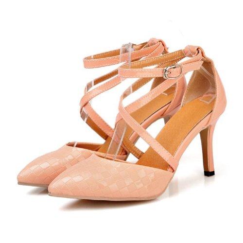 Charm Foot Fashion Cross Strap Mujeres Bombas De Tacón Alto Señaladas Zapatos Pink