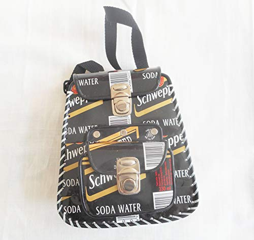 (Black Schweppes recycled soda can handmade backpack/handbag)