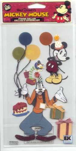 Large 3 D Stickers - Jolee's Large 3-d Sticker College Disney Vintage Mickey and Goofy Birthday Theme $5.99 Retail
