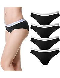 4 Pack Womens Seamless Underwear Invisible Bikini Sporty Nylon Spandex Panties
