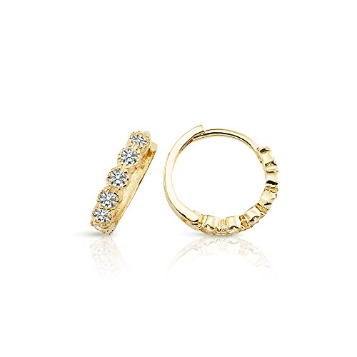 NEW 2017 STYLE 14K SOLID YELLOW GOLD CZ SMALL HOOP EARRINGS FOR WOMEN AND - Solid New Gold