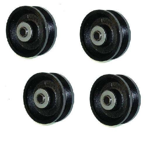 """(Set of 4) RWM 4"""" x 1-1/2"""" Cast Iron V-Groove Wheel with 1/2"""" ID Needle Bearing"""