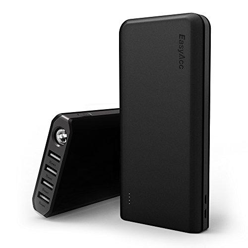 EasyAcc Batería Externa 20000mAh 4.8A 4 Puertos Salidas Carga Rápida Powerbank para iPhone iPad Samsung con Linterna Negro y Gris