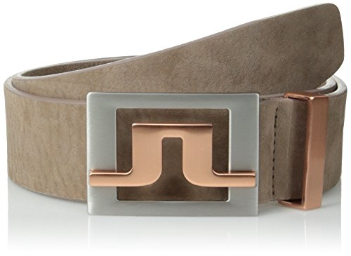 J.Lindeberg Men's Slater 40 Striped Webbing Belt, Light Brown, 90