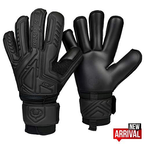 Renegade GK Fury Nightfall Roll Cut Level 4 Womens & Mens Goalie Gloves with Pro-Tek Fingersaves - Girls & Boys Goalie Gloves Soccer - Size 8 Goalie Gloves - Black Goalkeeper Gloves
