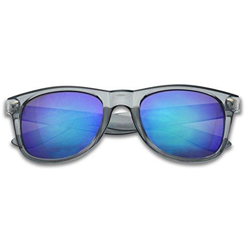 SunglassUP Colorful Classic 80's Vintage Colored Pantone & Mirrored Lens Sunglasses (Transparent Grey, Midnight Green Revo) ()