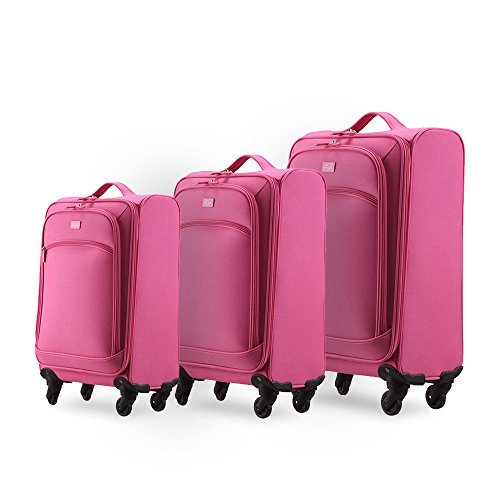 Unitravel Luggage Set Expandable Spinner Lightweight Suitcase Set Apply tp 20 24 and 28inch (20''+24''+28'', pink) by Unitravel