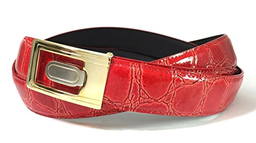 EDNA Bonded Leather Crocodile Skin Print Dress Belt Red (Gold Crocodile Belt)