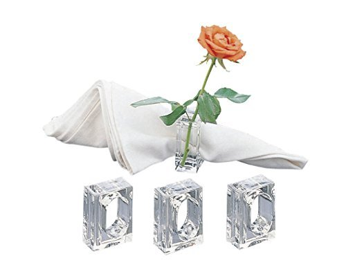 Acrylic Lucite Set of 4 Flower Bud Square Napkin Ring (Discount Vases Clear)