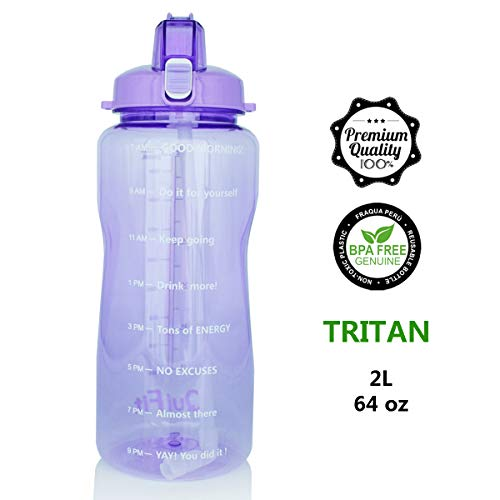 QuiFit Portable Drinking Straw Daily Water Bottle Sport Water Jug Gallon BPA Free Non Leak Design with Time Marked to Ensure You Drink Enough of Water Throughout The Day (64oz/Purple)