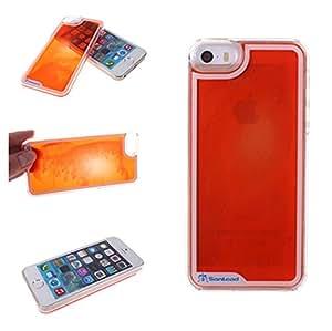 21st Century Transparent Plastic 3D Luminous Quicksand Powder Liquid Case for Apple iPhone 5 5S Blue