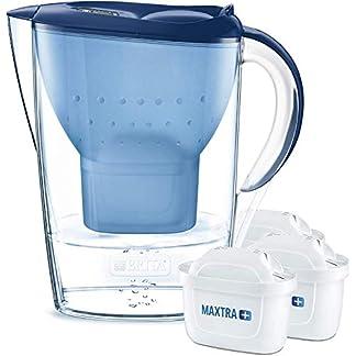 BRITA Wasserfilter Marella blau inkl. 3 MAXTRA+ Filterkartuschen – BRITA Filter Starterpaket zur Reduzierung von Kalk, Chlor, Blei, Kupfer & geschmacksstörenden Stoffen im Wasser 1