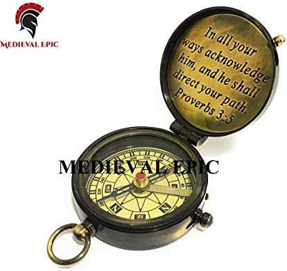 Medieval Epic Boussole vintage militaire nautique en laiton 2,5 poches