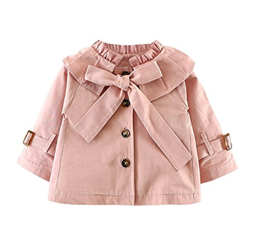 Baby Girls Spring Autumn Princess Bowknot Outerwear Jacket Ruffle Windbreaker Trench Coat