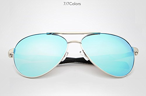 UV400 de Gafas Gafas Borders Marca Men Moda Light Jusheng Gafas de Color Conducción Gold Sol polarizadas Gafas Sol Diseño Polarized blue de la Metal qaqzHpU
