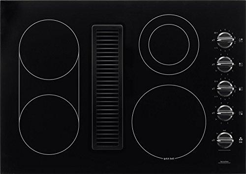 Frigidaire 30 Inch Electric Downdraft, Black Ceramic Glass 4-Burner Flat Range, RC30DE60PB Cooktop