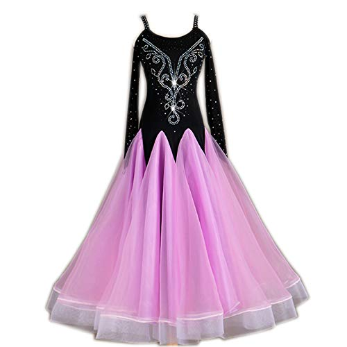 garuda 社交ダンスドレス モダンダンスウェア サイズオーダードレス 競技ワンピース 黒+ピンク B07P4CWYNJ  画面色 Small