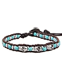 KELITCH Natural Leather Wrap Bracelet Agate Crystal Skull Beaded New Cuff