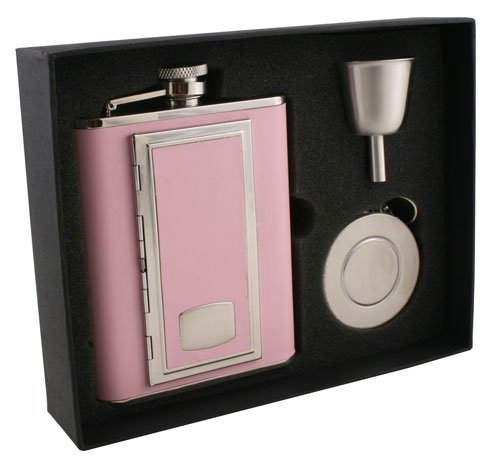 "Visol ""SP Pink"" Leather Stellar Flask Gift Set, 6-Ounce, Pink"