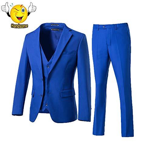 High-End Suits 3 Pieces Men Suit Set Slim Fit Groomsmen/Prom Suit for Men Two Buttons Business Casual Suit Royal Blue