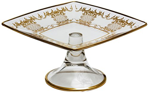 Classic Touch CRGKP22 Square Cake Stand with 14K Gold Artwork