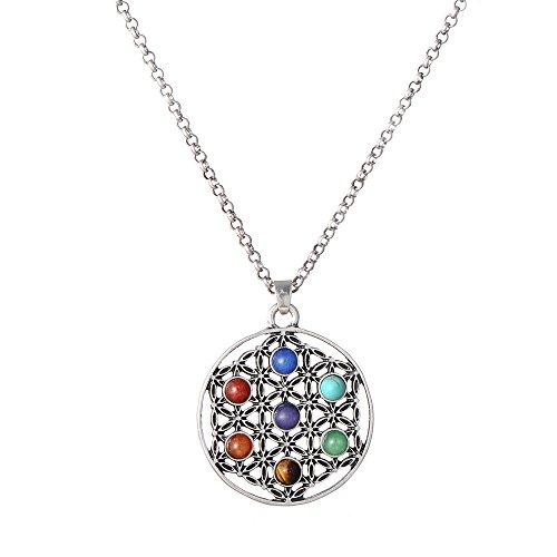 PSEEHEE Flower of Life Sacred Geometry 7 Chakra Healing Crystals Necklace, Reiki Stones Pendant Jewelry