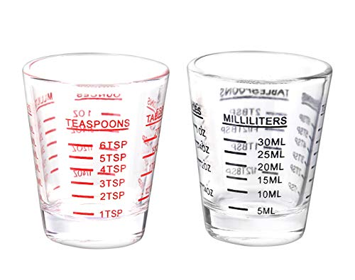 Shot Glasses Measuring cup Espresso Shot Glass Liquid Heavy Glass Wine Glass 2 Pack 26-Incremental Measurement 1oz, 6 Tsp, 2 Tbs, 30ml (Black and Red) -