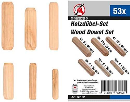 /Ø 5-10 mm 53 piezas Surtido de tacos de madera Kraftmann 88162
