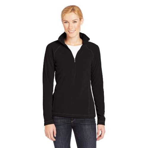 41CYeyB2saL. SS500  - White Sierra Women's Alpha Beta 1/4 Zip Pull-Over-Black, Large