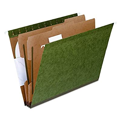 Pendaflex 59254 SureHook Reinforced Hanging Folder, 2 Dividers, Letter, 1/5 Tab, Green (Box of 10)