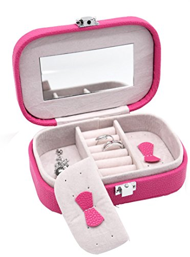 Small Portable Jewelry Box Organizer Display Storage Case with Makeup Mirror for Rings, Earrings and Necklaces by JSSHI (Hot (Mirror Insert Accents)